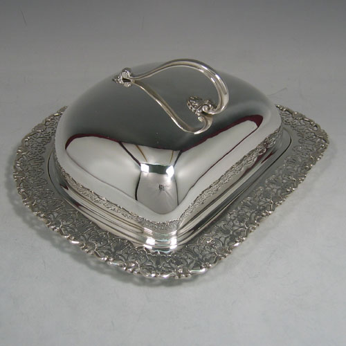 Sterling silver cheese dish, with liner, made by Mappin & Webb Sheffield in 1925. Length 21 cms, height 10 cms.