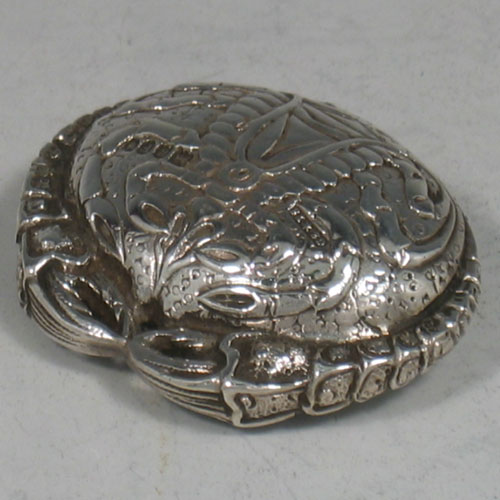 A very rare Antique Edwardian sterling silver crab shaped pillbox  made by Saunders and Shepherd of London in 1902. Length 5 cms.