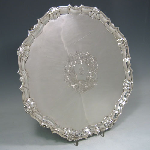 Antique Georgian sterling silver salver made by Robert Abercrombie of London in 1744. Diameter 36 cms. (Crested).