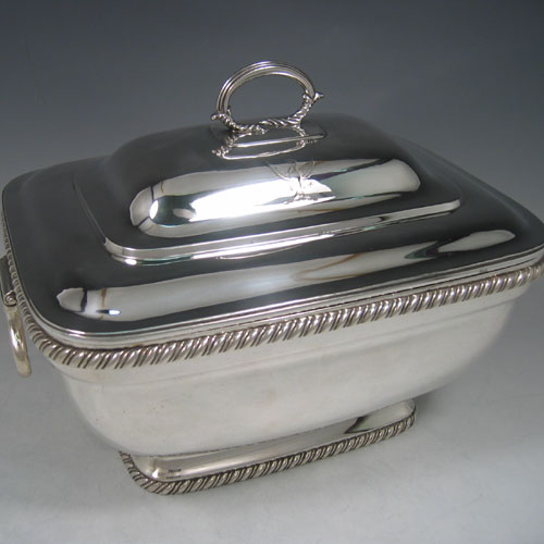 Antique Georgian sterling silver soup tureen made by Robert Breading of Dublin in 1808 (crested). Height 23 cms, width 29 cms.